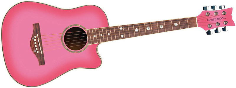 Daisy Rock Pink 3-Quarter Dreadnought Acoustic Guitar Pack