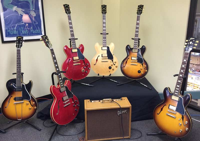 Gibson ES models in the Gibson Memphis conference room