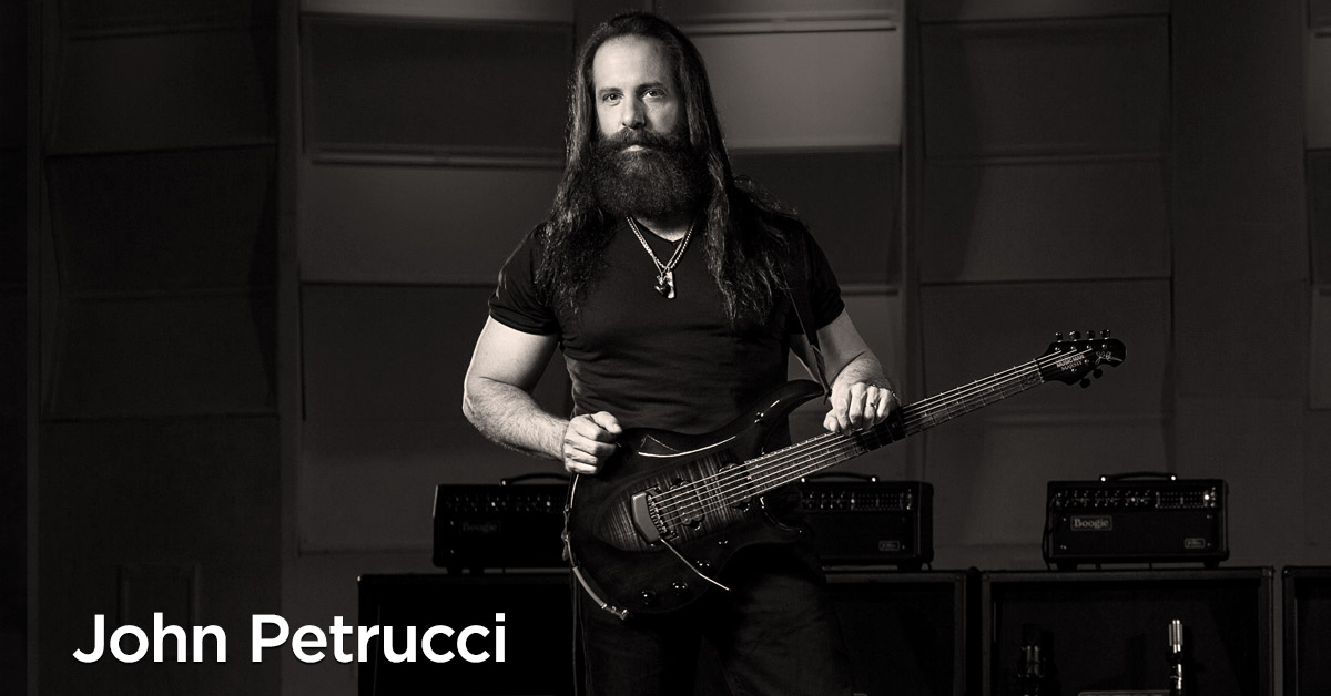 John Petrucci with his signature Ernie Ball Music Man Monarchy Majesty