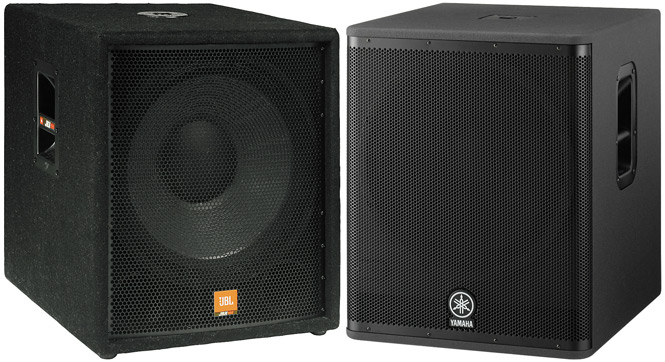JBL JRX118SP and Yamaha DSR118W Powered Subs
